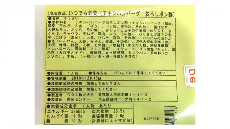 ワタミの宅食ダイレクト・チキンハンバーグおろしポン酢原材料