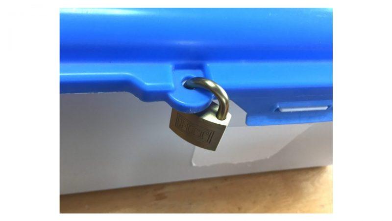 ワタミの宅食・安全ボックスに鍵がかかった状態