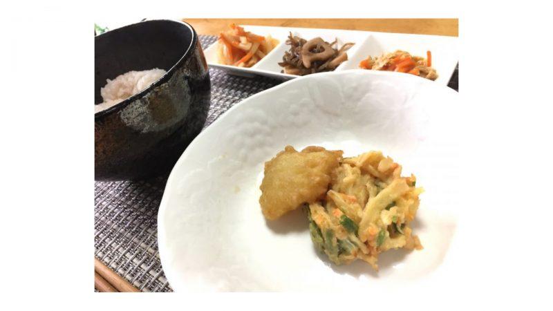 ワタミの宅食・天ぷら(イカ・かき揚げ)の盛り付け例