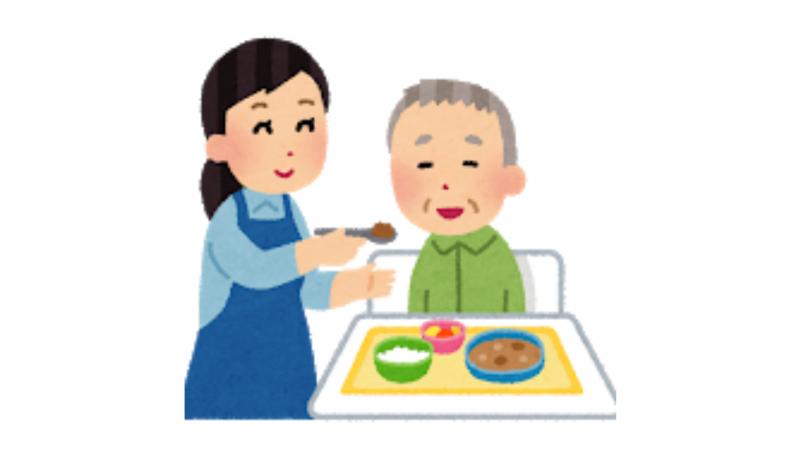 食事を食べるおじいさん