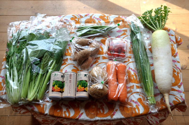 テーブルに並べたお試しセットの野菜