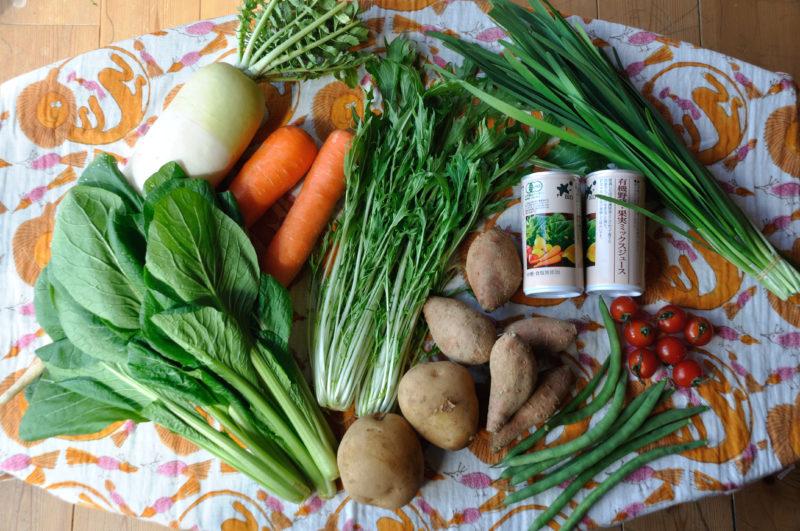 机の上に並べた、ビオマルシェお試しセットの野菜