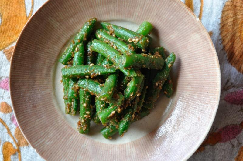 インゲン豆の胡麻味噌和え