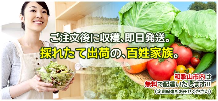 EMショップ百姓家族 トップページより手に野菜を持った女性の画像