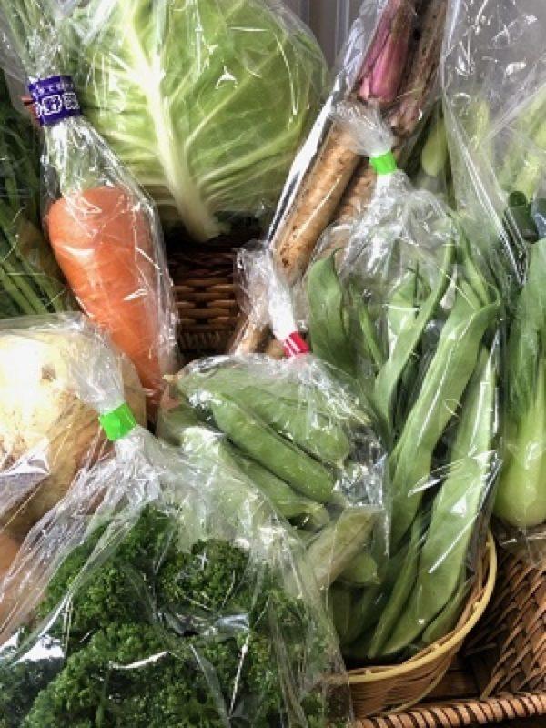 たくさんの野菜が並ぶ八百丑の野菜セット