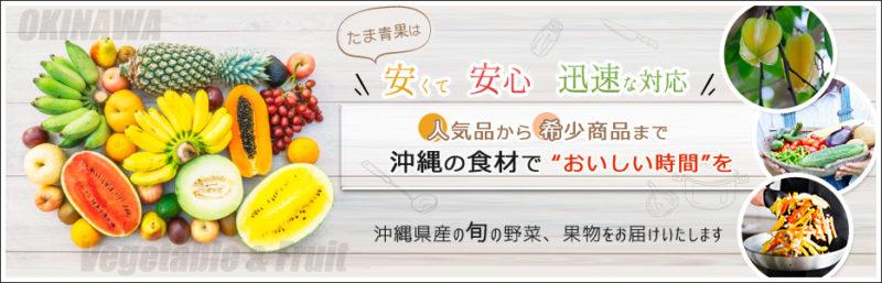 沖縄たま青果ホームページより 色とりどりのフルーツや野菜の画像が入ったバナー画像