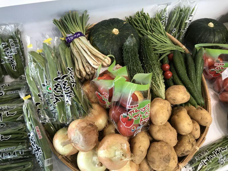 たま青果 野菜セットの画像 島野菜などの珍しい野菜がたくさん並んでいる