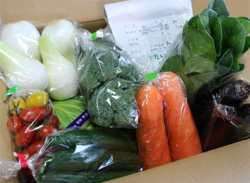 たくさんの野菜が段ボールに詰め込まれたJA全農えひめの野菜セットの画像