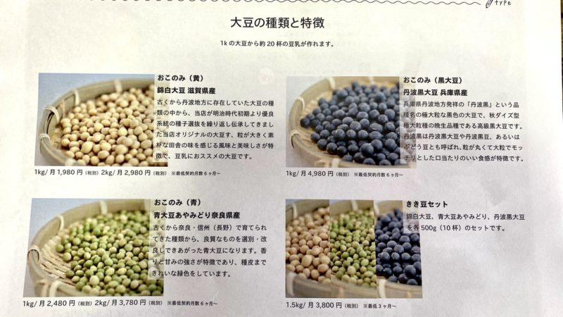 豆乳くらぶ・大豆種類