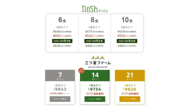 nosh(ナッシュ)と三ツ星ファーム、食数・値段